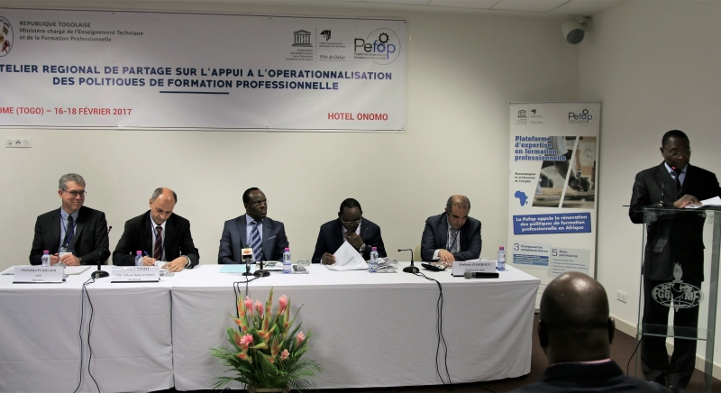 Opening of the workshop chaired by the Minister for Technical Education and Vocational Training of Togo, Mr. Georges Kwawu Aïdam